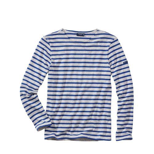 Saint James Herren Bretagne-Shirt Meridien streifen natur/blau L, M, XL