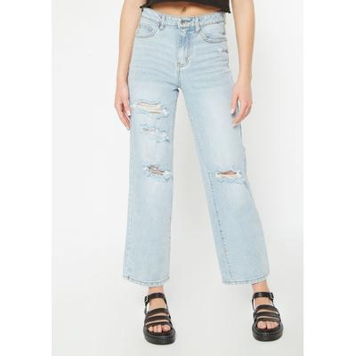 Rue21 Womens Light Wash Super High Waisted Ripped Skate Jeans - Size 3
