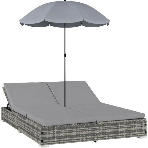 Outdoor-Loungebett mit Sonnenschirm Poly Rattan Grau 30285 - Topdeal