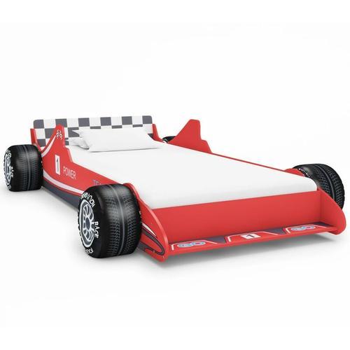 Kinderbett im Rennwagen-Design 90 x 200 cm Rot