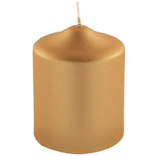 Fink Stumpenkerze, in Metallic-Optik, Höhe ca. 10 cm goldfarben Kerzen Laternen Wohnaccessoires Stumpenkerze