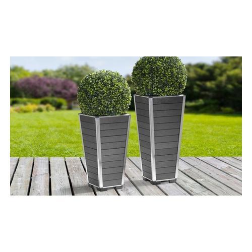 Gartenfreude Pflanzgefäß aus WPC Modell: 27 x 27 x 62 cm / Grau