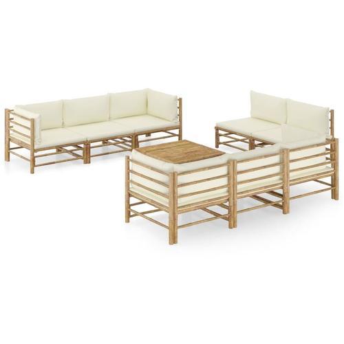 9-tlg. Garten-Lounge-Set mit Cremeweißen Kissen Bambus