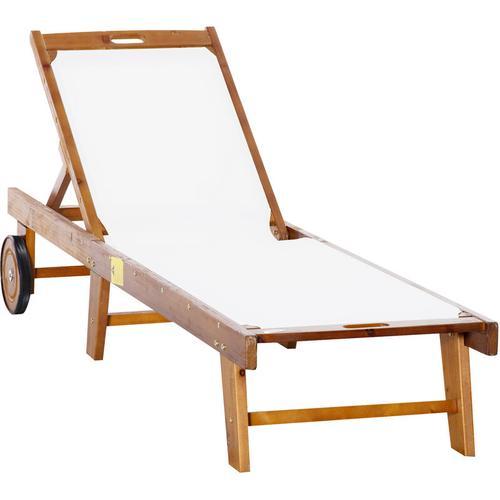 ® Sonnenliege Relaxliege Gartenliege verstellbar Akazienholz Textil Natur 198 x 60 x H87/80/69/45