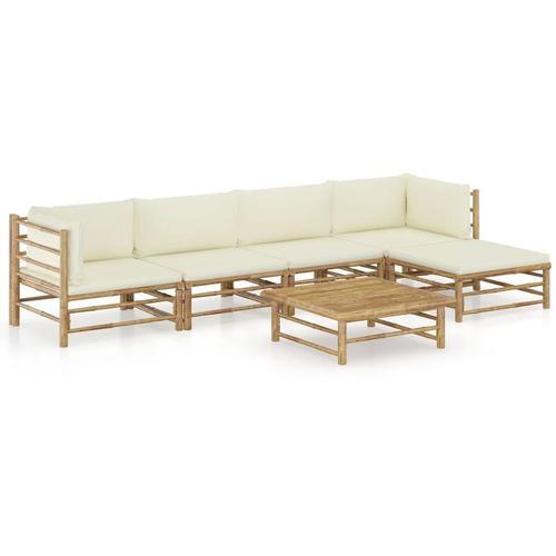 6-tlg. Garten-Lounge-Set mit Cremeweißen Kissen Bambus