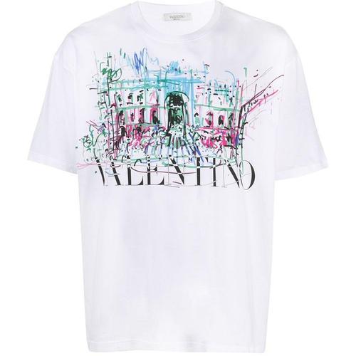 Valentino T-Shirt mit Zeichnungs-Print