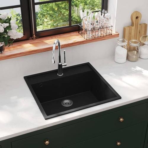 Küchenspüle mit Überlauf Schwarz Granit - Youthup