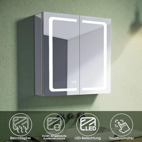 Alu Spiegelschrank mit beleuchtung und steckdose Beschlagfrei Badspiegel LED Touch 65x65x13.3cm