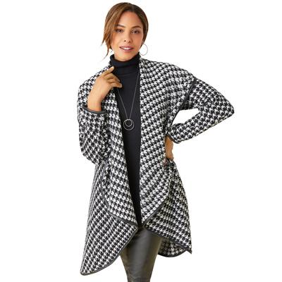 Plus Size Women's Faux Leather-Trim Sweater by Jessica London in Ivory Houndstooth (Size 18/24)