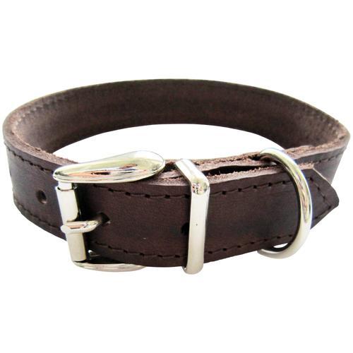 HEIM Hunde-Halsband, Echtleder, Länge: 50 cm braun Hundehalsbänder Hund Tierbedarf Hunde-Halsband