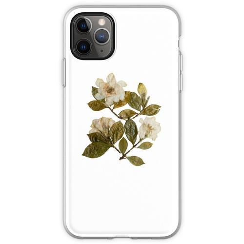 Gepresste Gardenien, Gardenia Blumen, Gardenia Kunst, Gardenia Flexible Hülle für iPhone 11 Pro Max