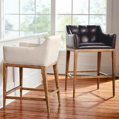 """Gramercy Bar & Counter Stool with Arms in Sandstone Finish - Shadow Knox Leather Counter Height, Leather, 26-3/4"""" Counter Height, Special Order - Frontgate"""