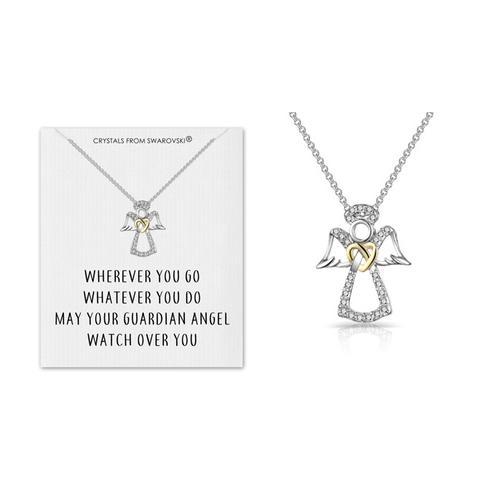 Schutzengel-Halskette mit Swarovski® Kristalle und Zitatkarte: 3