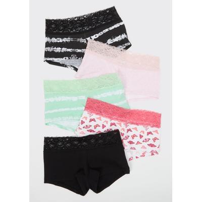Rue21 Womens 5-Pack Butterfly Lace Boyshort Undies Set - Size M