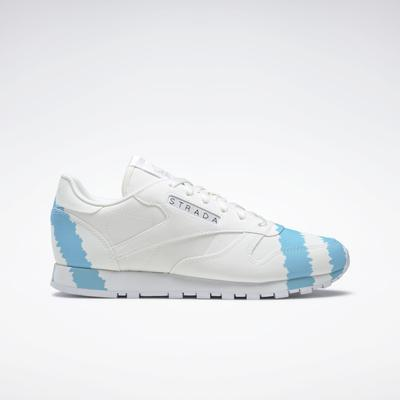 Reebok Women's Collina Strada Classic Leather Shoes in Ftwr White/Digital Blue/Acid Yellow Size 11 - Lifestyle Shoes