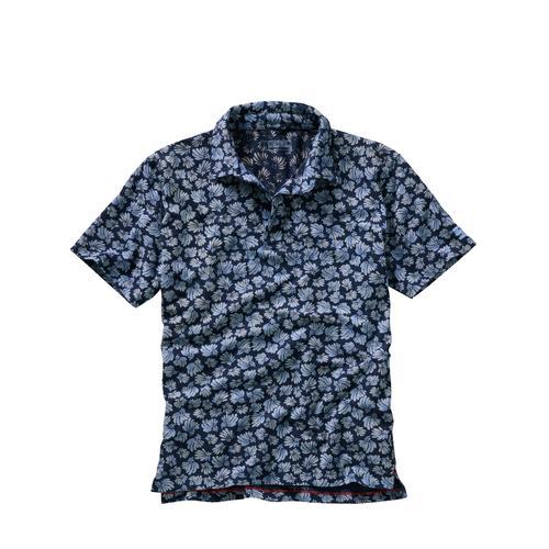 Cinque Herren Polo-Hemd Slim Fit Blau gemustert