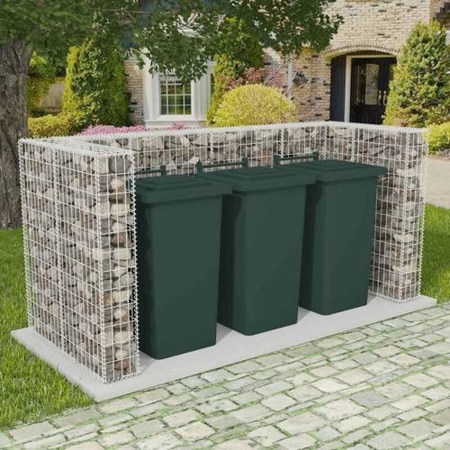 Gabionen-Mülltonnenverkleidung für 3 Tonnen Stahl 250x100x120cm