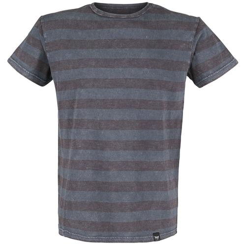 Black Premium by EMP graues T-Shirt mit Querstreifen und Rundhalsausschnitt Herren-T-Shirt - grau