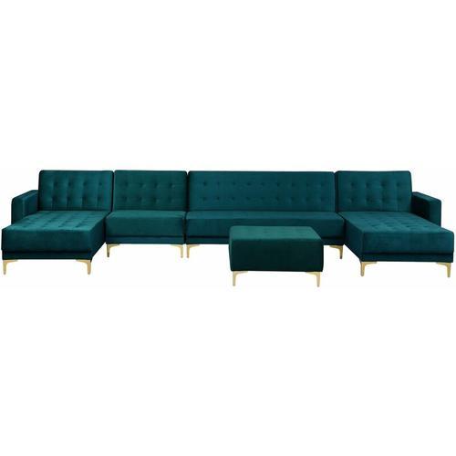 Sofa Grün Samtstoff U-Förmig Wohnlandschaft Schlaffunktion Klassisch Ottomane Wohnzimmer
