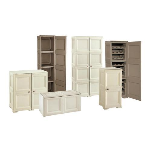 Möbel: Schrank 5 Module + 5 Einlegeböden und 4 offene Fächer + 1 Stütze / Beige