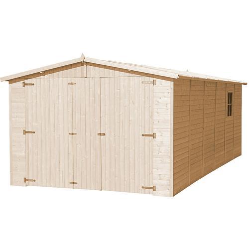 Timbela - Holzgarage - Abstellraum mit Fenstern- H222x616x324 cm /18 m2 - Plattenkonstruktion aus