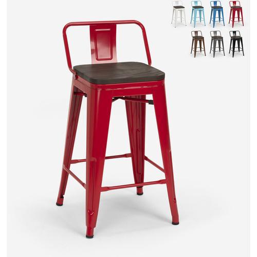 Hoher Hocker Industriedesign Metall Holz Tolix Stil Küchen Bars Steel Wood Top | Rot