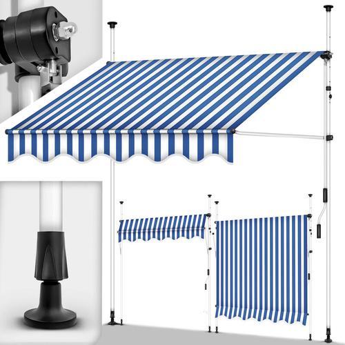 tillvex Balkonmarkise 400 cm Blau/Weiß Gelenkarm Markise Klemmmarkise Sonnenmarkise Balkon ohne
