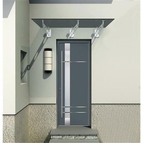 250x90cm Glasvordach - (Typ/3S-Gr) - Grafit-Grau Glas - Vordach VSG inkl. Halter