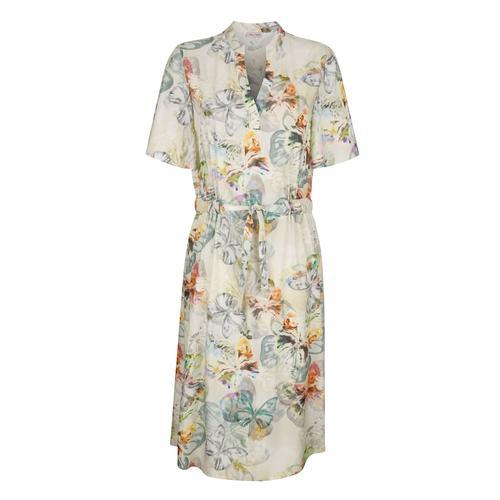 Kleid Alba Moda Creme-Weiß::Lindgrün::Grau