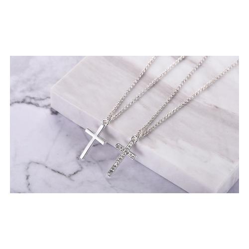 Halskette: 1x/ Halskette mit Kreuz-Anhänger und Swarovski®-Kristallen