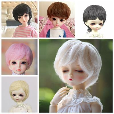 Perruques courtes en Fiber haute température, couleur or rose blanc, accessoires de poupées