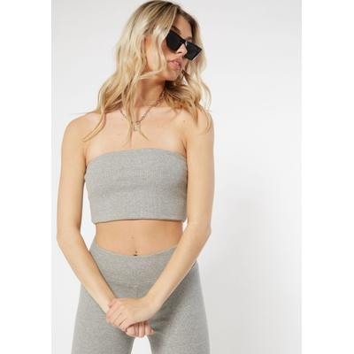 Rue21 Womens Heather Gray Cotton Ribbed Tube Top - Size Xl