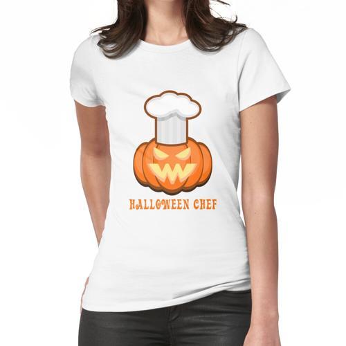 Lustige Halloween Chef Kürbis Jack O Laterne Frauen T-Shirt