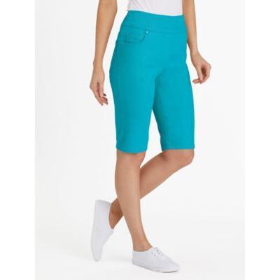 Women's Plus Flat Waist Denim Bermuda Shorts, Turquoise Blue 22W