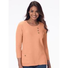 Women's Petite Lyrical Lines Cotton Sweater, Frozen Sherbert P-S