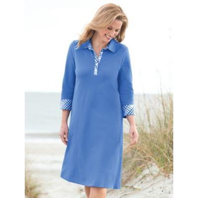 Women's Gingham-Trim Piqué Polo Dress, Light Wedgewood Blue P-XL