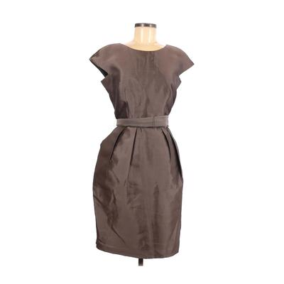 Alex Evenings Cocktail Dress - Sheath: Brown Solid Dresses - Used - Size 8