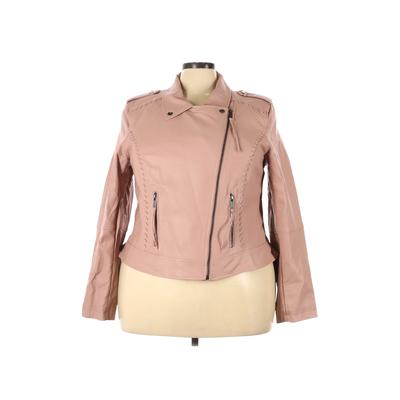 City Chic Faux Leather Jacket: Pink Solid Jackets & Outerwear - Size 22 Plus
