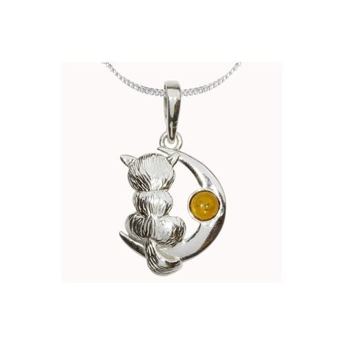 Kette mit Anhänger - Katze und Mond - Silber 925/000 - Bernstein OSTSEE-SCHMUCK silber