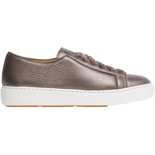 Santoni Sneker cleanic in textured laminated leather