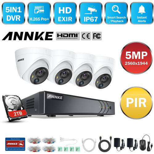 5MP HD 5-in-1 8CH DVR-Überwachungskamerasystem mit 4 * 5MP PIR-Außenkameras - 2 TB Festplatte