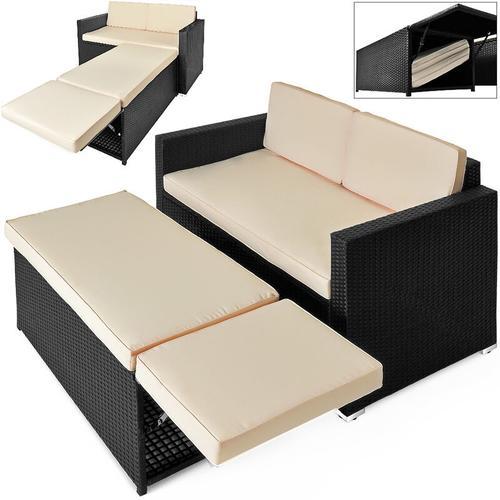 Polyrattan Lounge Set Mit Stauraum Dicke Auflage Wetterfest 2-Sitzer Outdoor Gartenliege