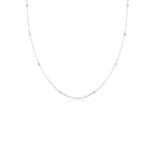 Halskette Solitär Basic Kristalle 925 Silber Elli Weiß