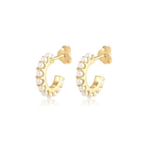 Ohrringe Creolen Synthetische Perlen 925 Silber Elli Gold