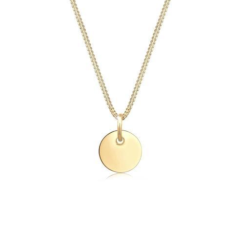 Halskette Basic Panzerkette Plättchen Kreis Geo 925 Silber Elli Gold