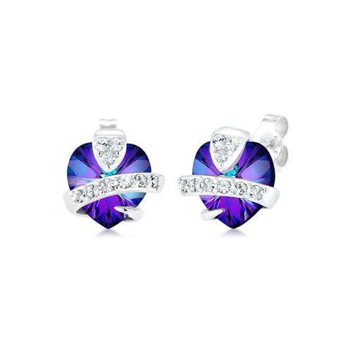 Ohrringe Herz Liebe Kristalle Cute 925 Silber Elli Violett