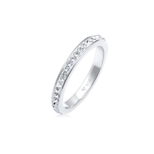 Ring Bandring Kristall 925 Silber Elli Weiß
