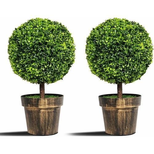 COSTWAY 2er Set Kuenstlicher Buchsbaum Kunstpflanze Kunstbaum Dekopflanze Zimmerpflanze mit