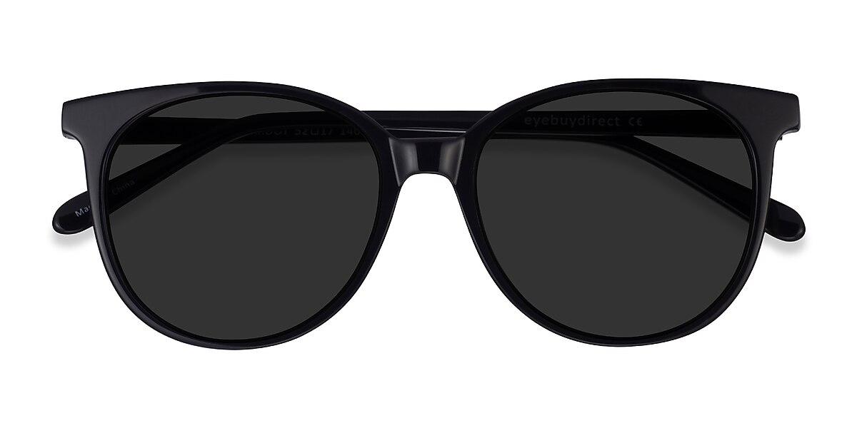 Female's Round Black Acetate Prescription sunglasses - EyeBuydirect's Sun Bardot