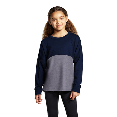 Soffe S5353GP Girls Fan wear Crew T-Shirt in Navy Blue/Gray Heather size Small   Cotton/Polyester Blend
